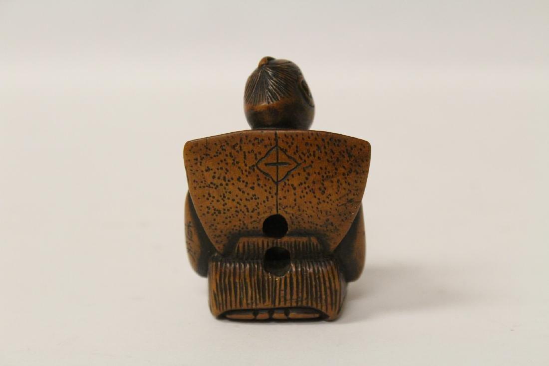 One wood and 4 bone carved Japanese netsuke - 7
