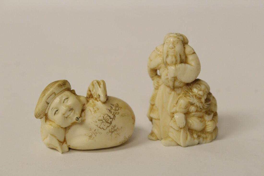 One wood and 4 bone carved Japanese netsuke - 8