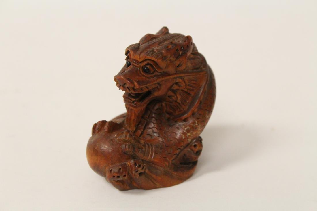 5 wood carved Japanese netsuke - 2