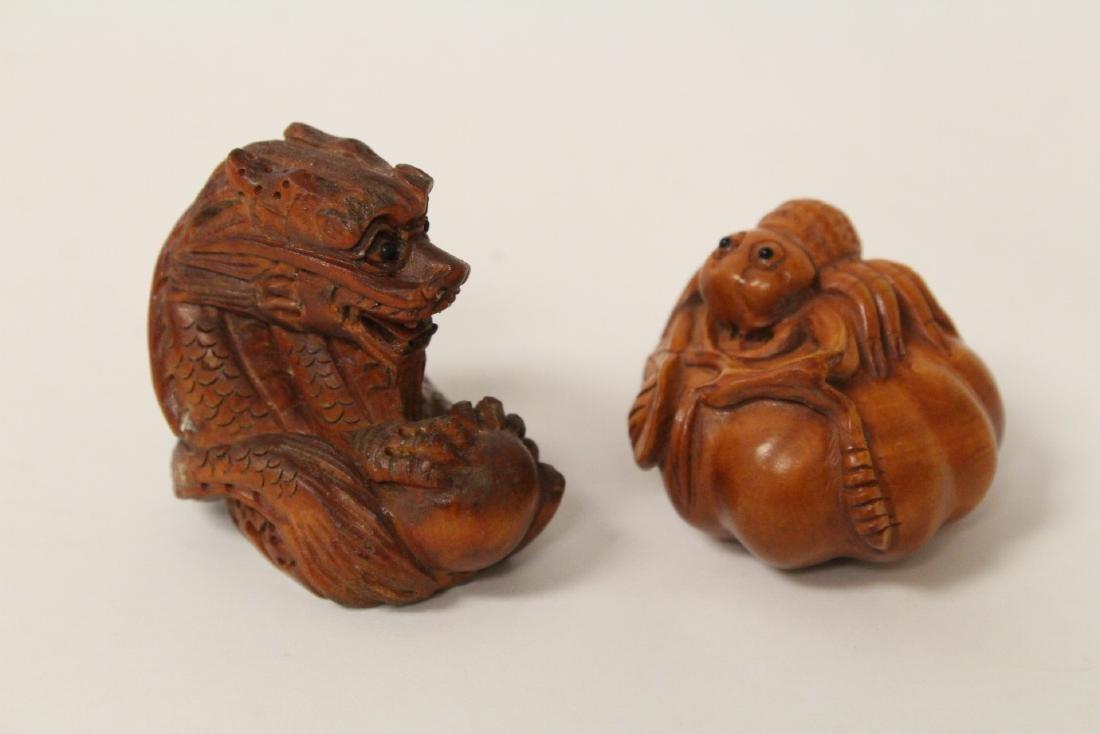 5 wood carved Japanese netsuke - 4