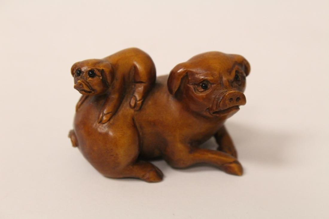 5 wood carved Japanese netsuke - 5