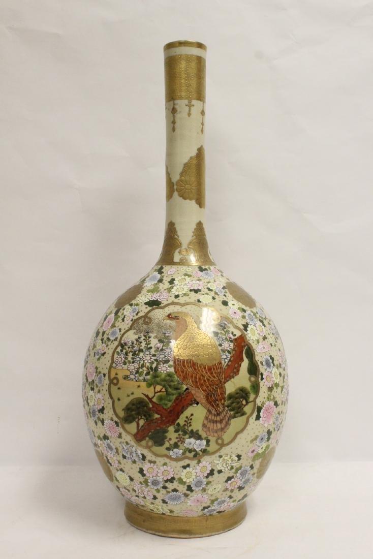 important massive Japanese satsuma bottle vase