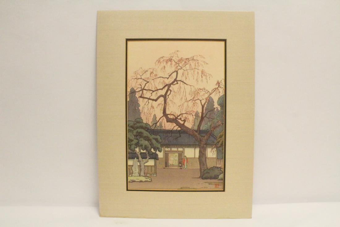 Japanese w/b print laid on board by Toshi Yoshida