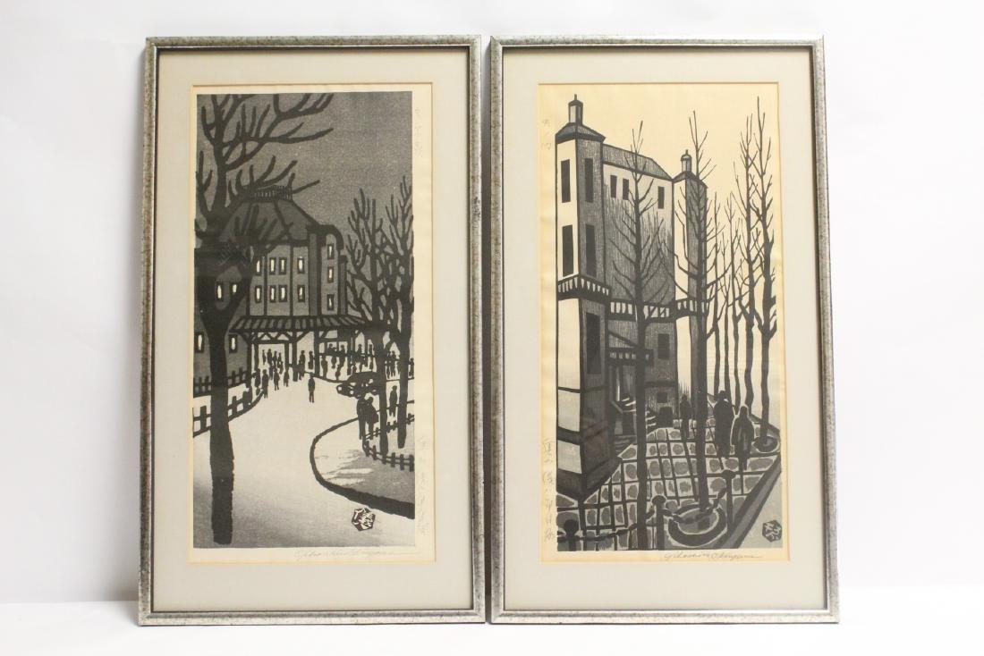 2 Japanese w/b prints by Gihachiro Okuyama