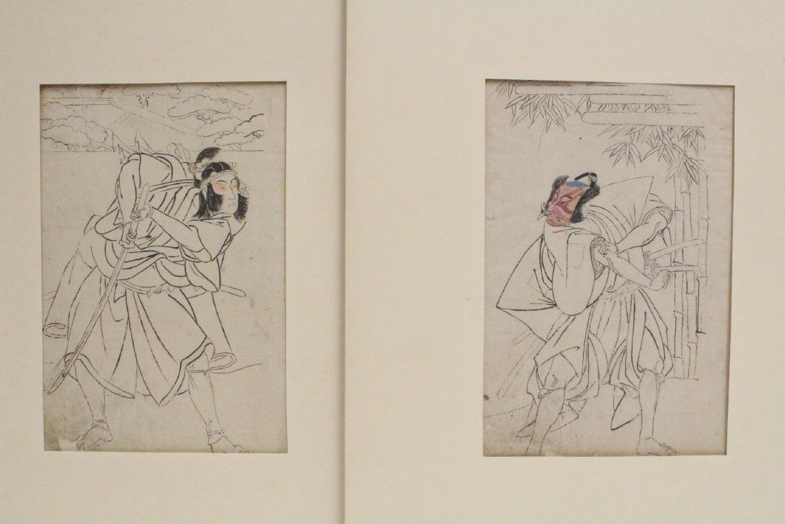 2 Japanese 18th c. w/b prints by Katsukawa Shunsho