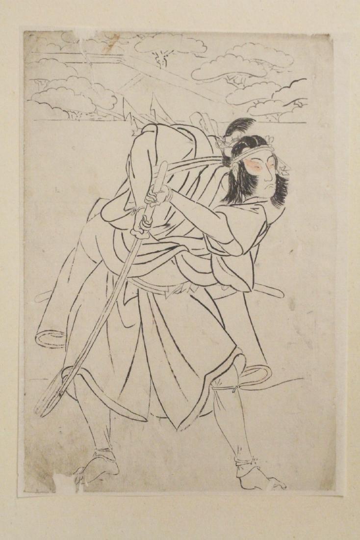 2 Japanese 18th c. w/b prints by Katsukawa Shunsho - 6