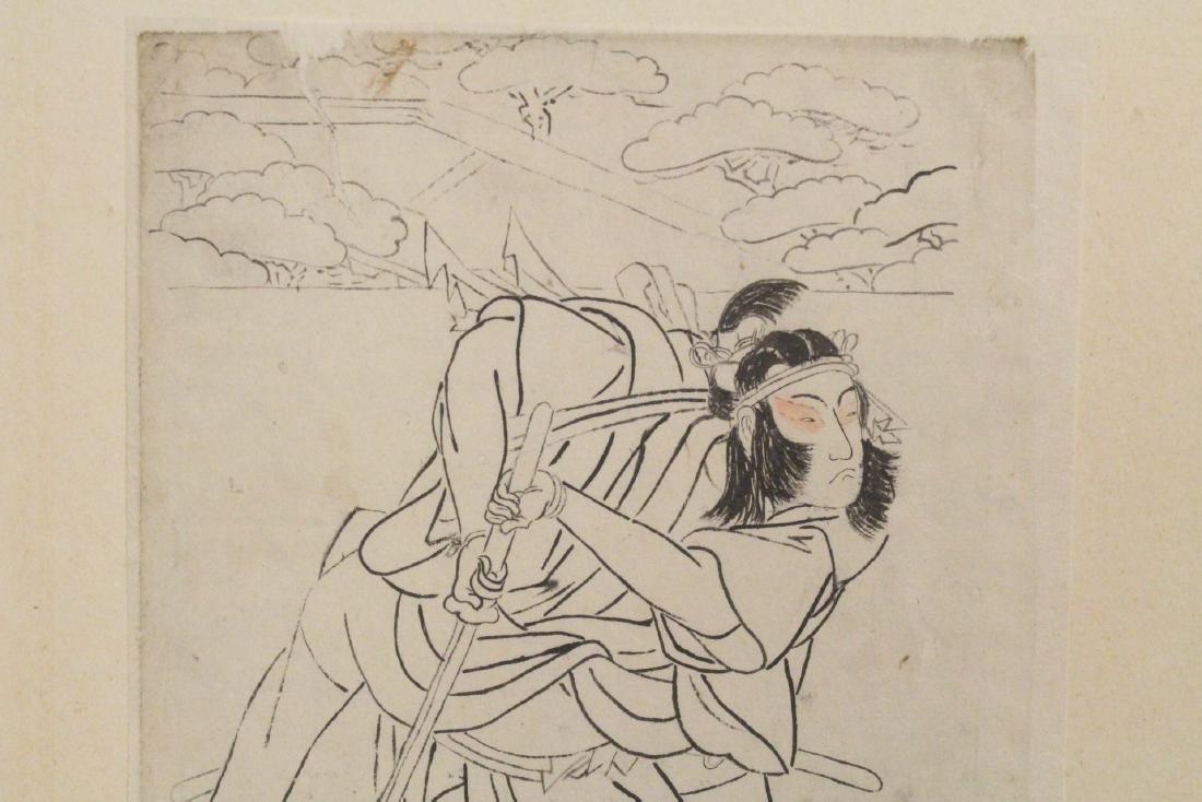 2 Japanese 18th c. w/b prints by Katsukawa Shunsho - 7