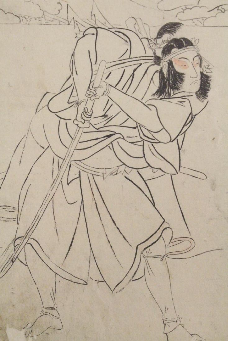 2 Japanese 18th c. w/b prints by Katsukawa Shunsho - 9