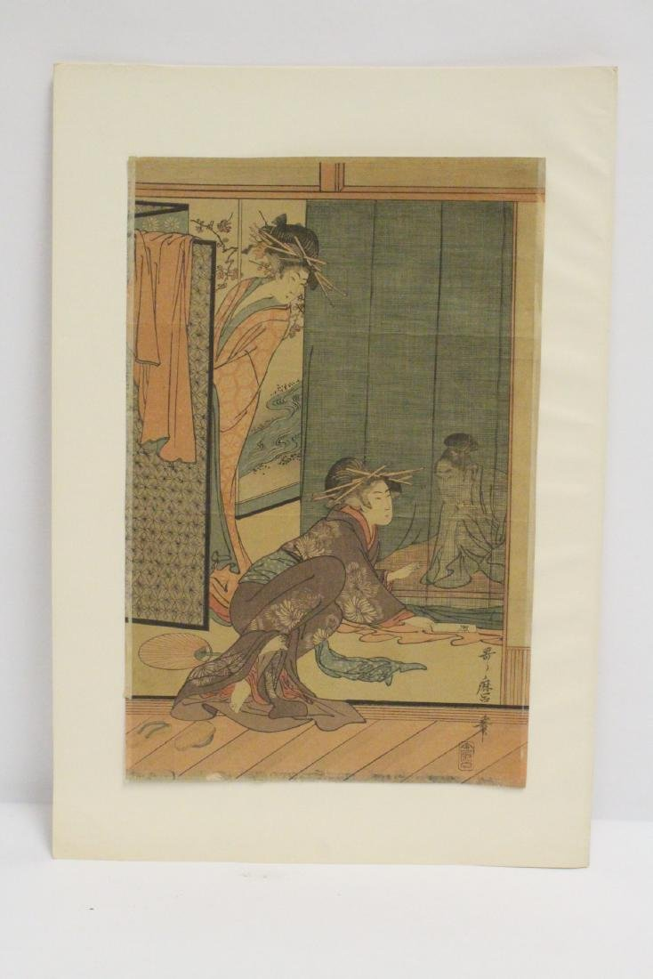 Antique Japanese woodblock print by Utamaro Kitagawa