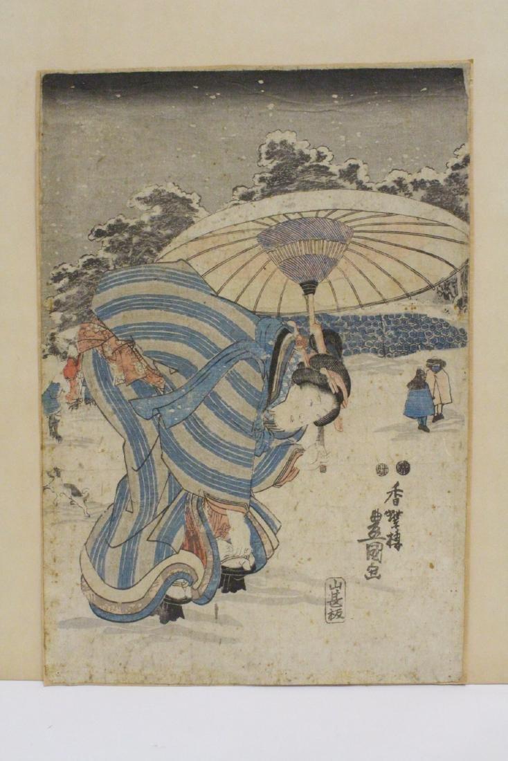 Antique Japanese w/b print by Toyokuni