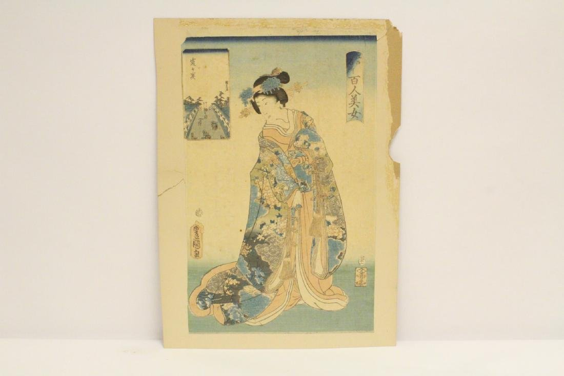 Antique Japanese w/b print on board by Toyokuni