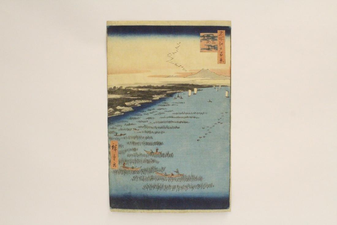 Antique Japanese w/b print by Hiroshige