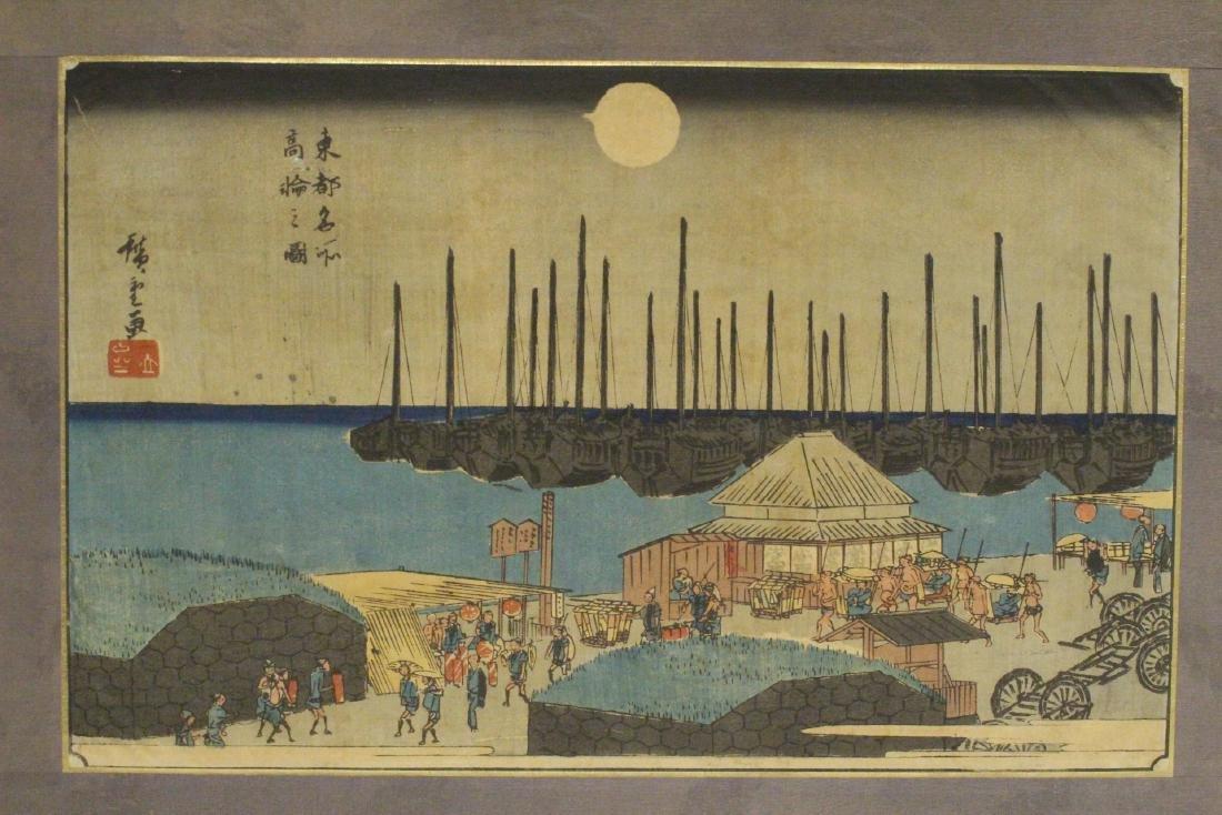 Antique Japanese w/b print by Hiroshige - 2