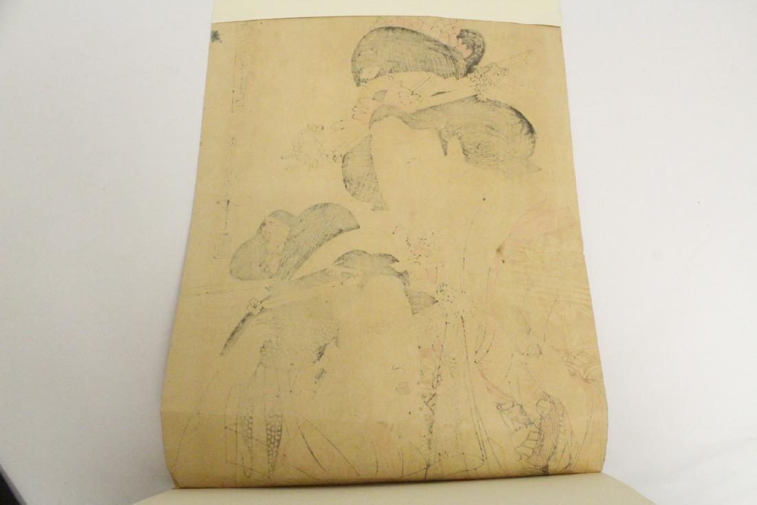 Japanese antique w/b print by Utamaro Kitagawa - 10