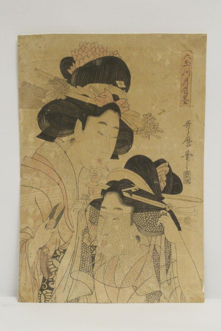 Japanese antique w/b print by Utamaro Kitagawa