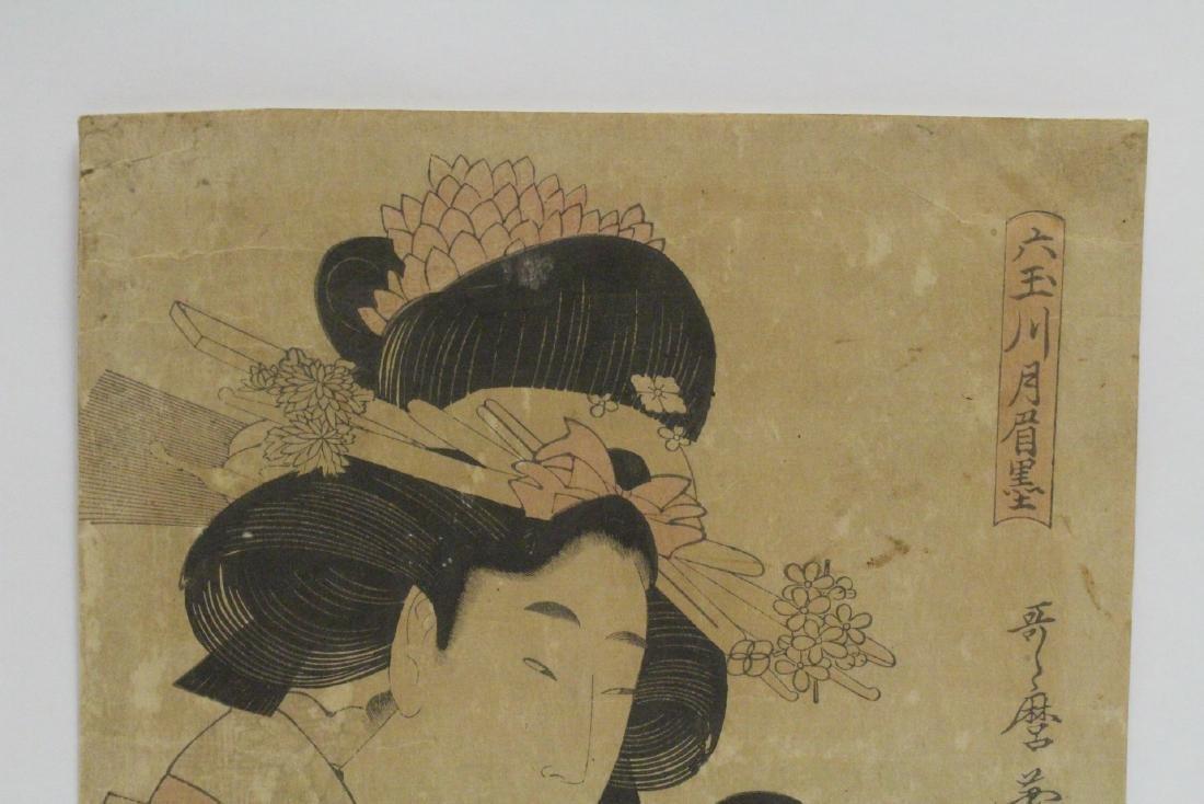 Japanese antique w/b print by Utamaro Kitagawa - 2