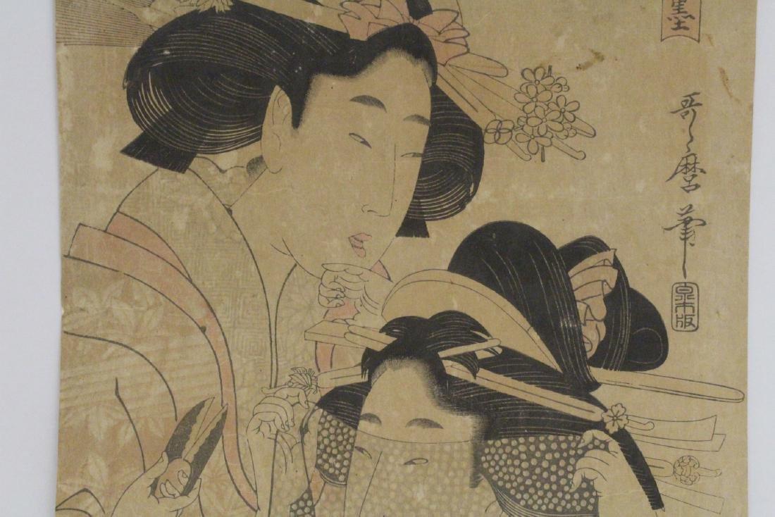 Japanese antique w/b print by Utamaro Kitagawa - 3