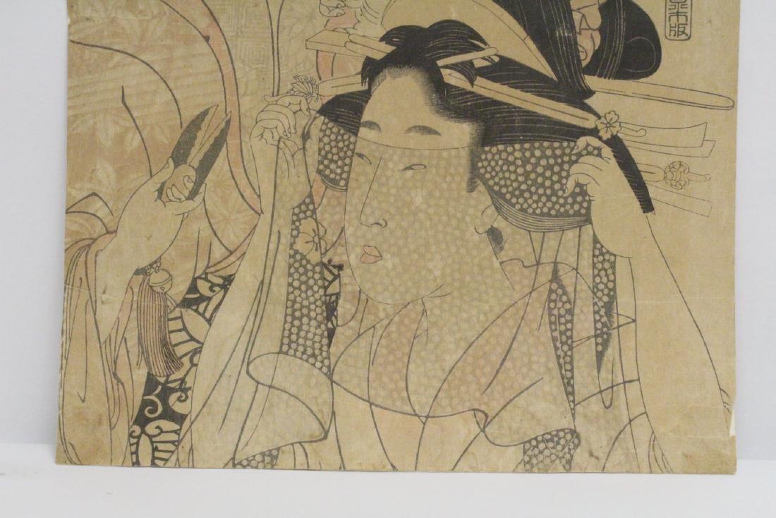 Japanese antique w/b print by Utamaro Kitagawa - 4