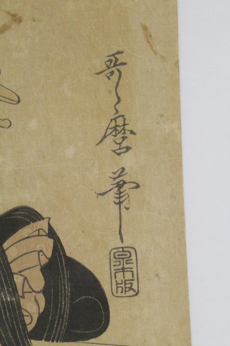 Japanese antique w/b print by Utamaro Kitagawa - 6