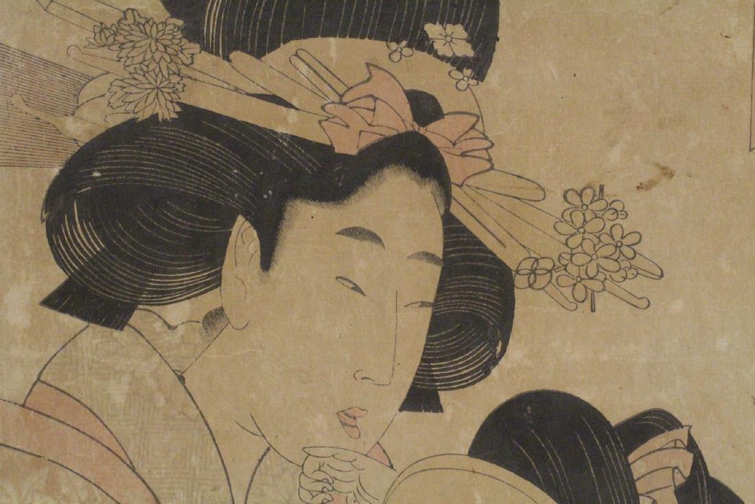 Japanese antique w/b print by Utamaro Kitagawa - 7
