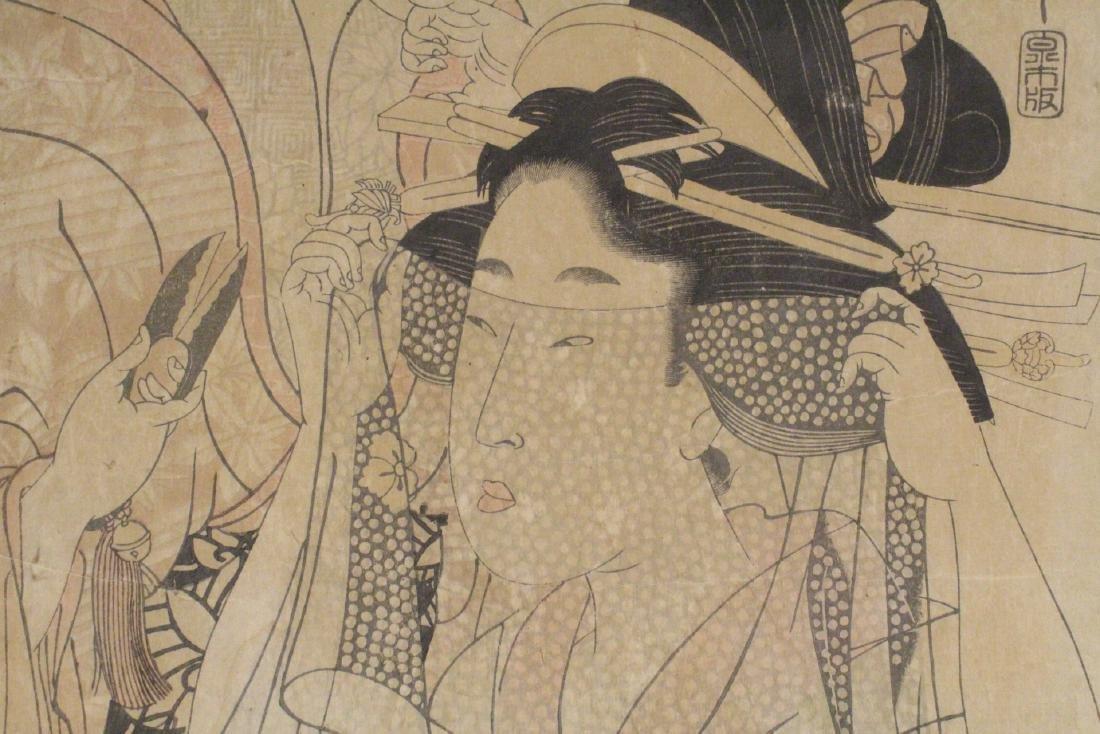Japanese antique w/b print by Utamaro Kitagawa - 8