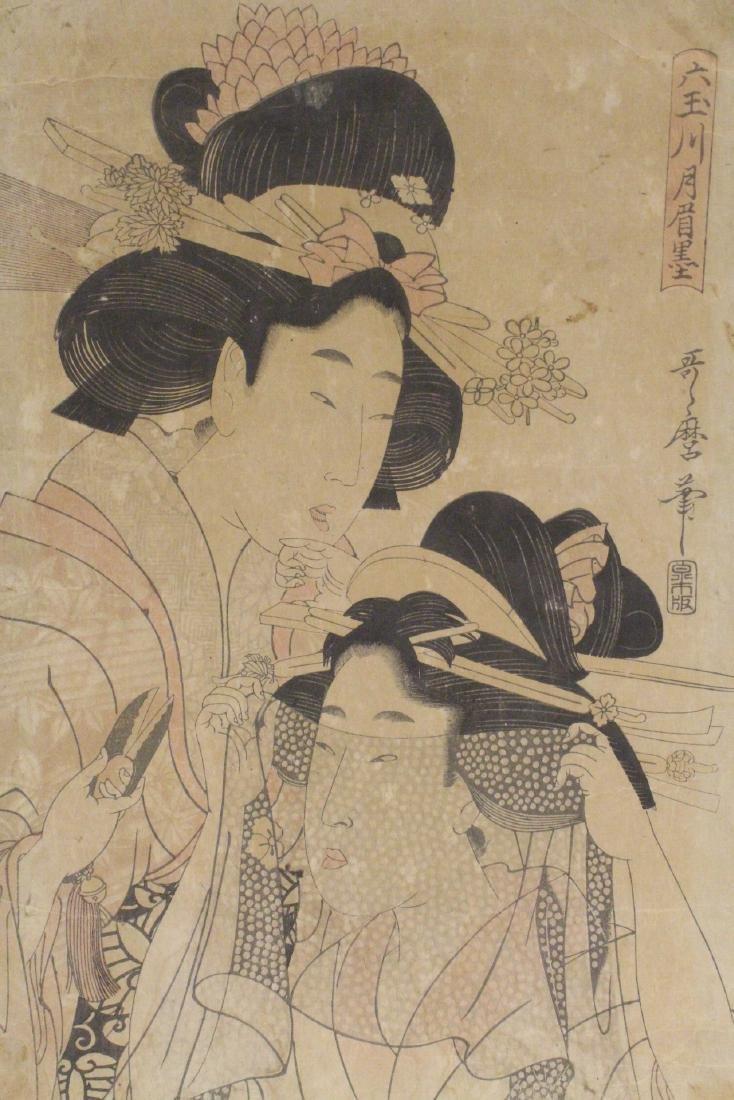 Japanese antique w/b print by Utamaro Kitagawa - 9