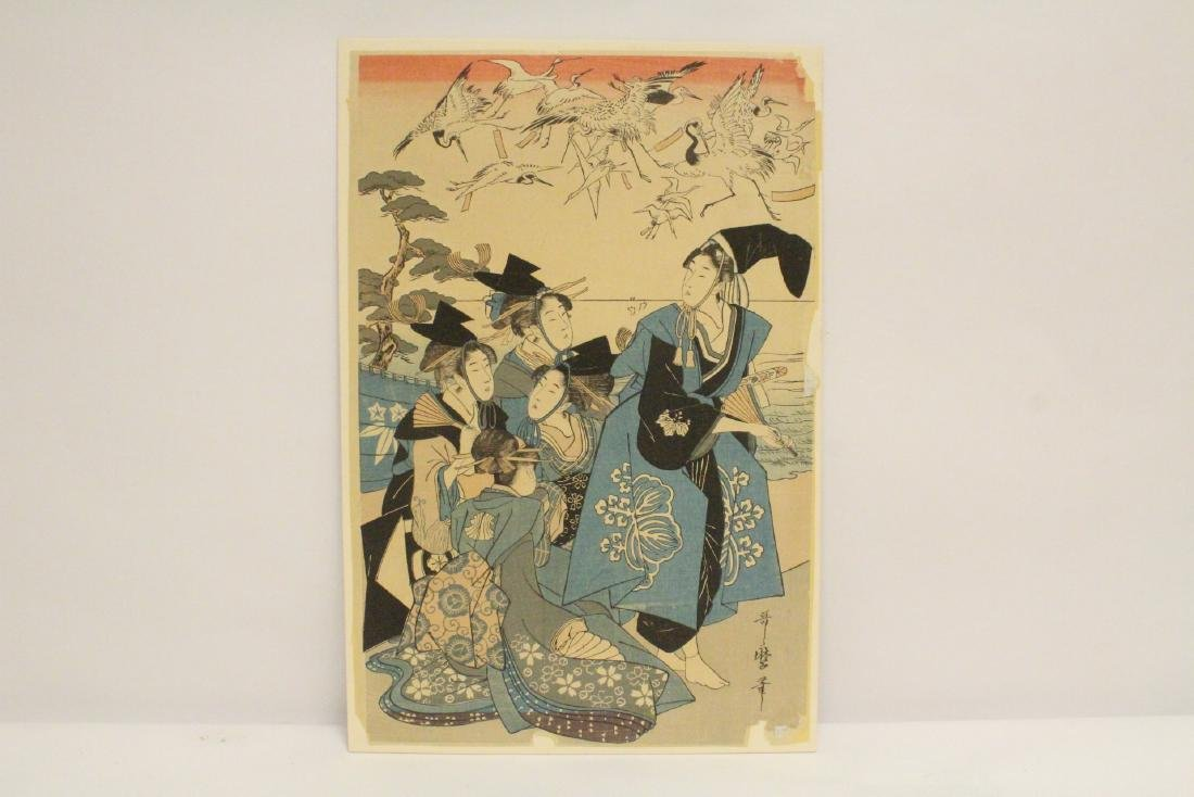 Antique Japanese w/b print by Utamaro Kitagawa