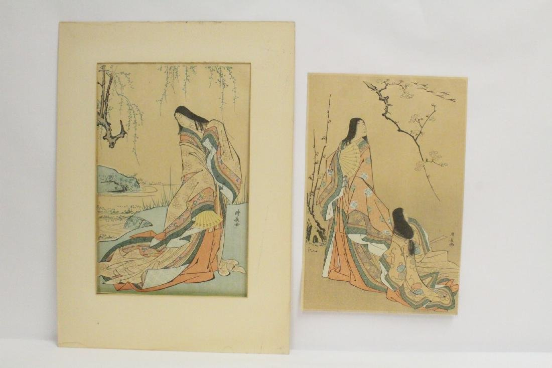 2 antique Japanese woodblock prints by Kiyonaga Torii