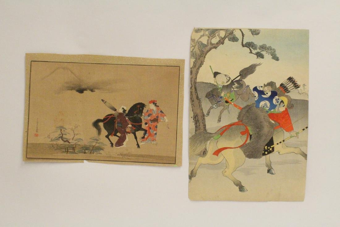 2 antique Japanese antique woodblock prints