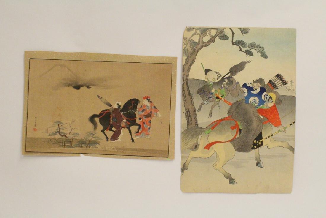 2 antique Japanese antique woodblock prints
