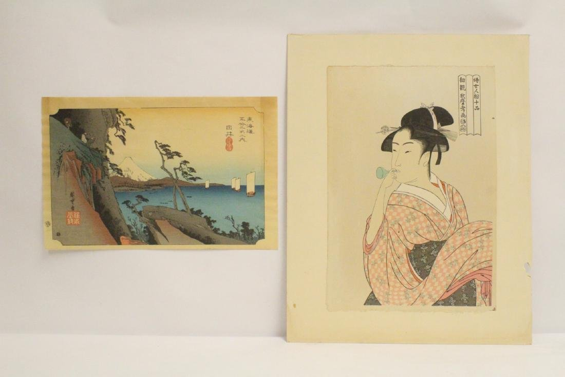 2 vintage Japanese w/b prints, one by Hiroshige