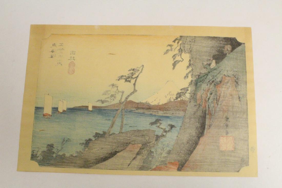 2 vintage Japanese w/b prints, one by Hiroshige - 6