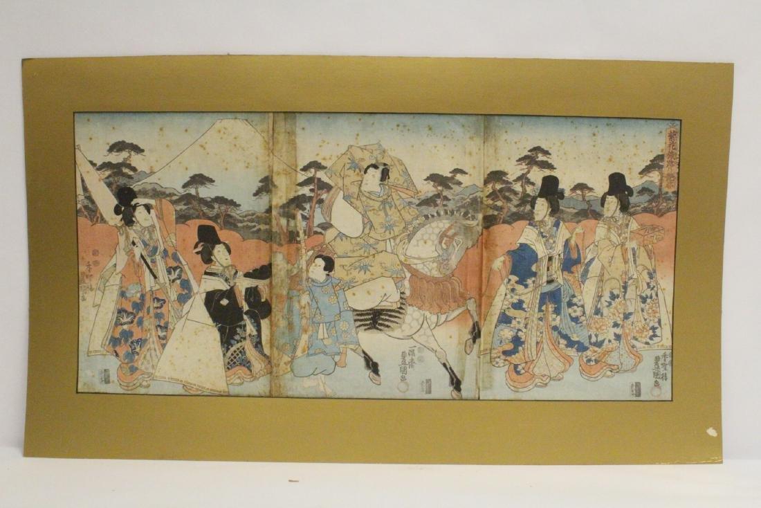 Antique Japanese triplet w/b print by Toyokuni