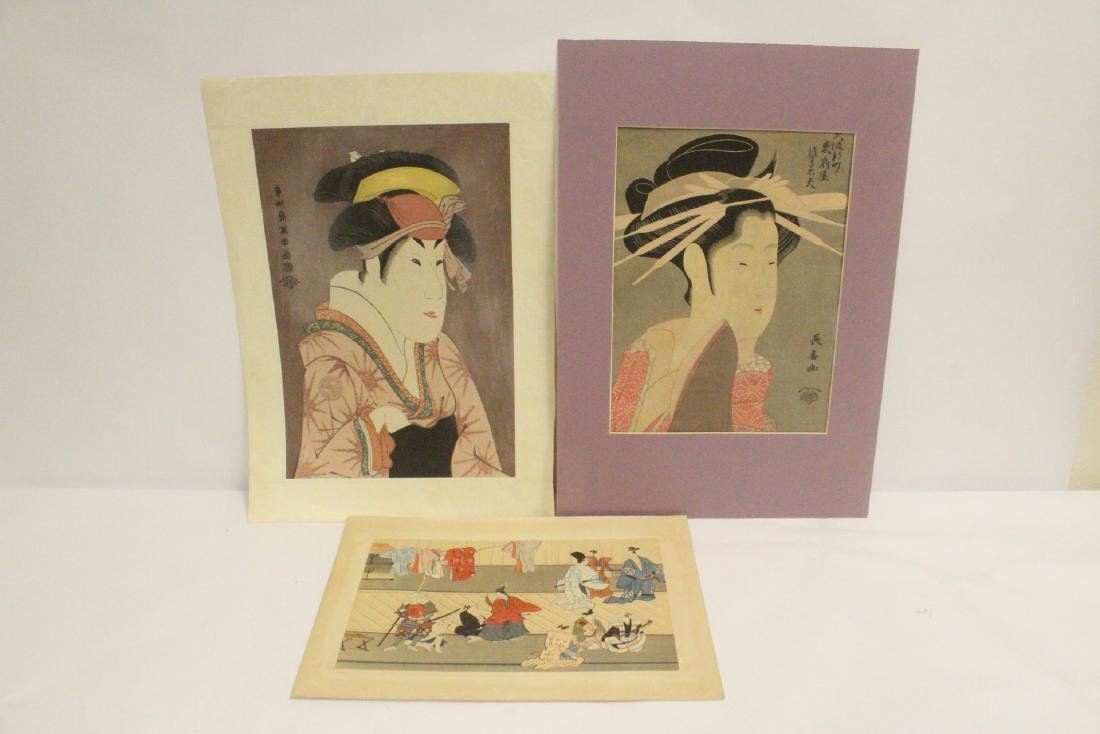 3 Japanese vintage woodblock prints