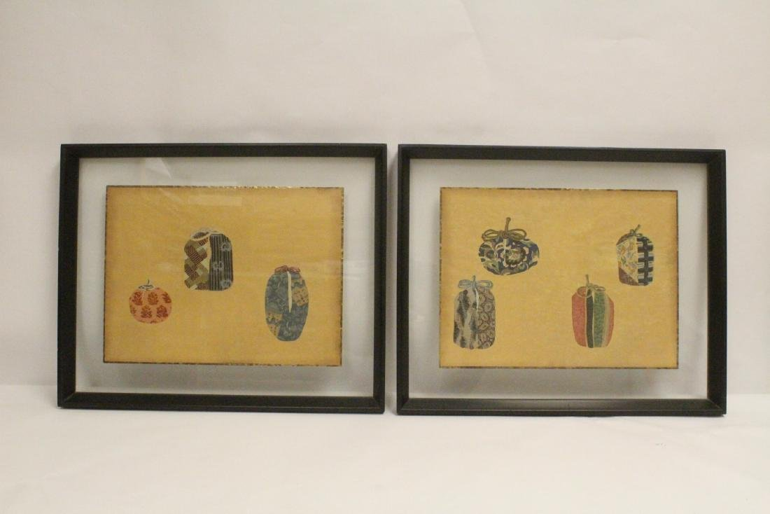 2 framed Japanese contemporary woodblock prints
