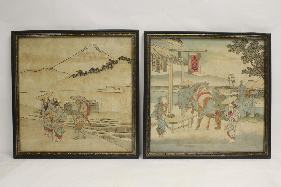 2 antique Japanese watercolor on silk