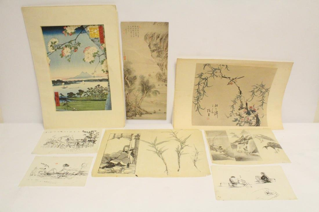 5 Japanese ink on paper sketches, and 3 prints