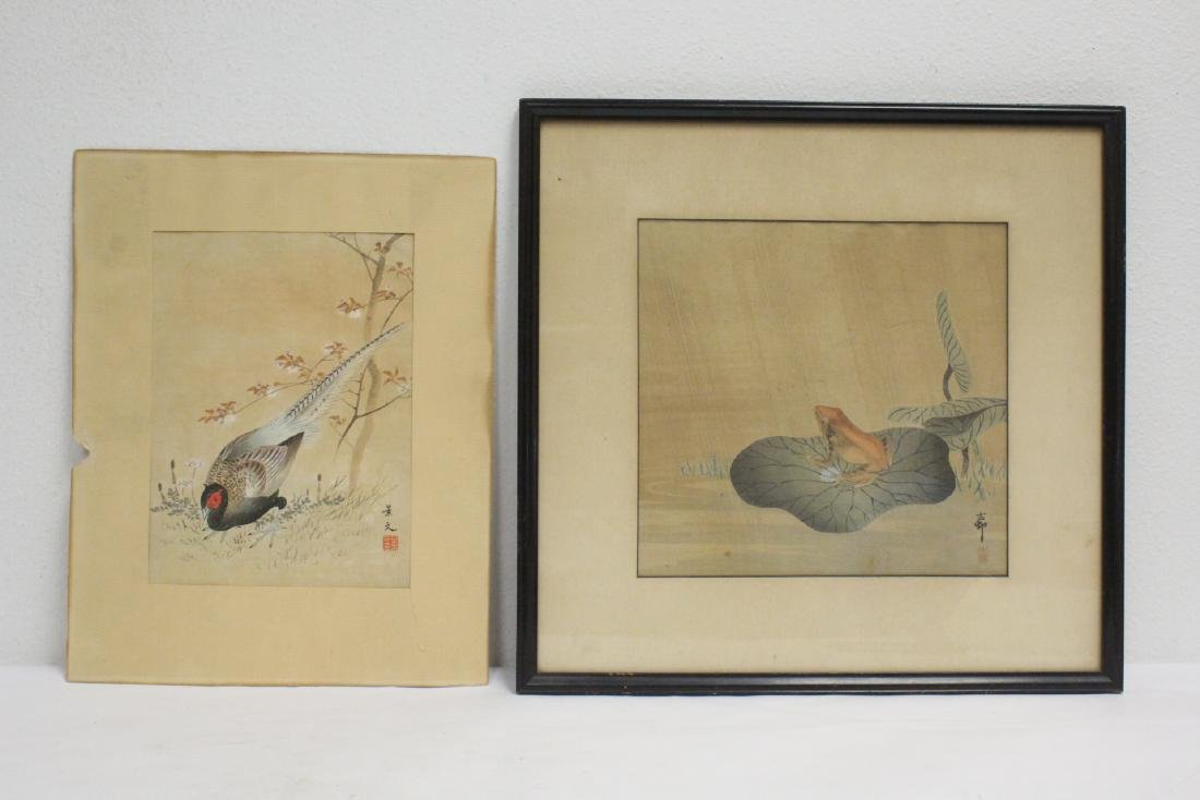2 Japanese antique watercolor on rice paper