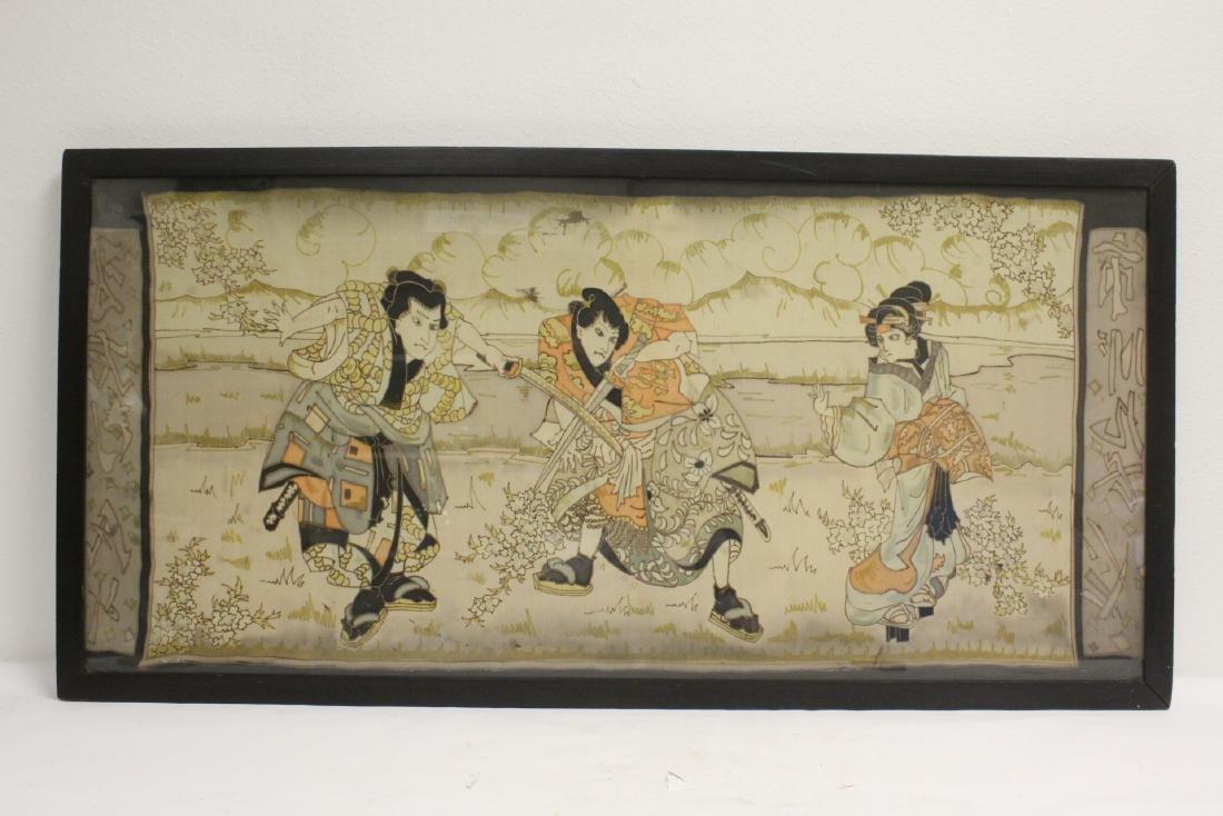 Unusual Japanese antique framed kesi panel