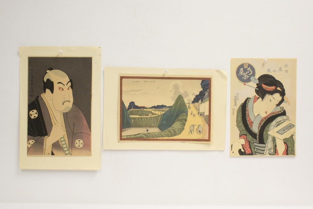 3 vintage Japanese woodblock prints