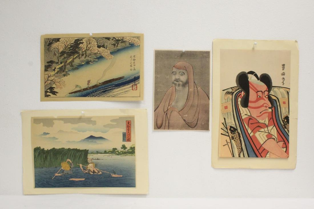 4 vintage Japanese woodblock prints