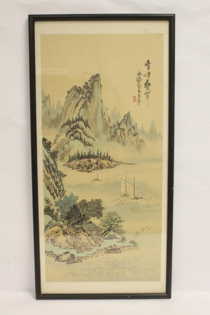 "Japanese watercolor on silk ""landscape"""