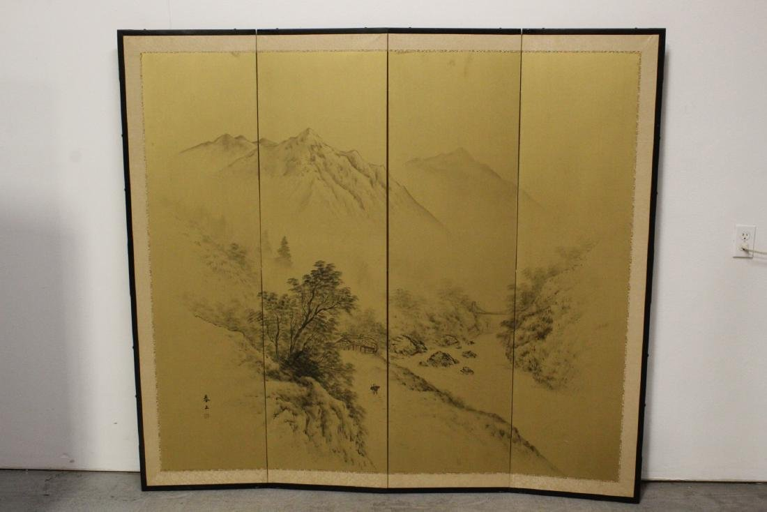 Japanese antique 4-panel screen