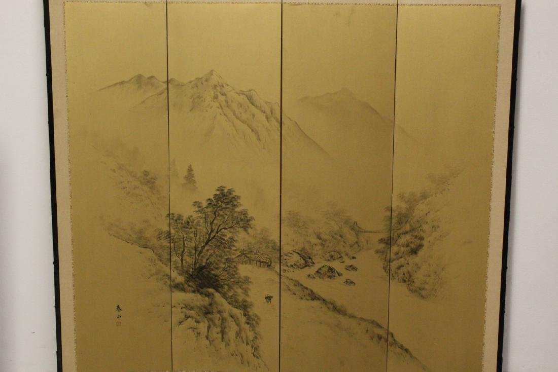 Japanese antique 4-panel screen - 2