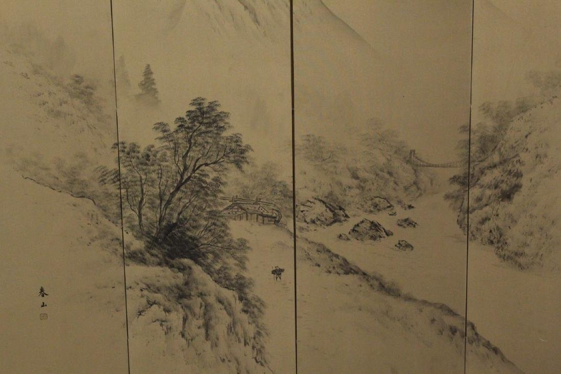 Japanese antique 4-panel screen - 3