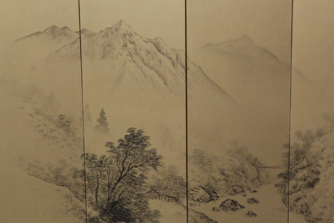 Japanese antique 4-panel screen - 4