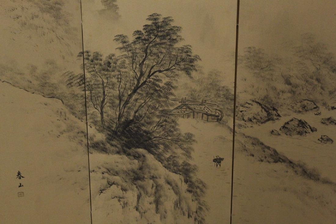 Japanese antique 4-panel screen - 5