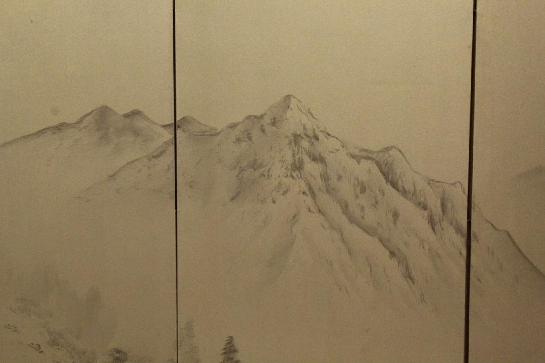 Japanese antique 4-panel screen - 7