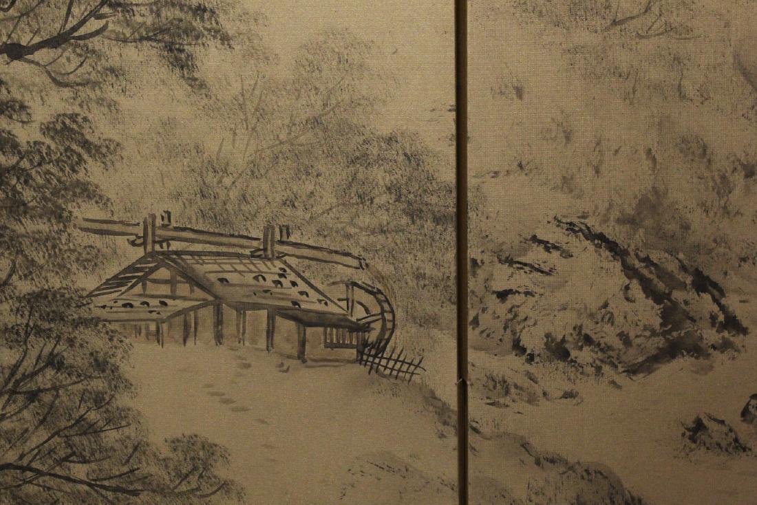 Japanese antique 4-panel screen - 8