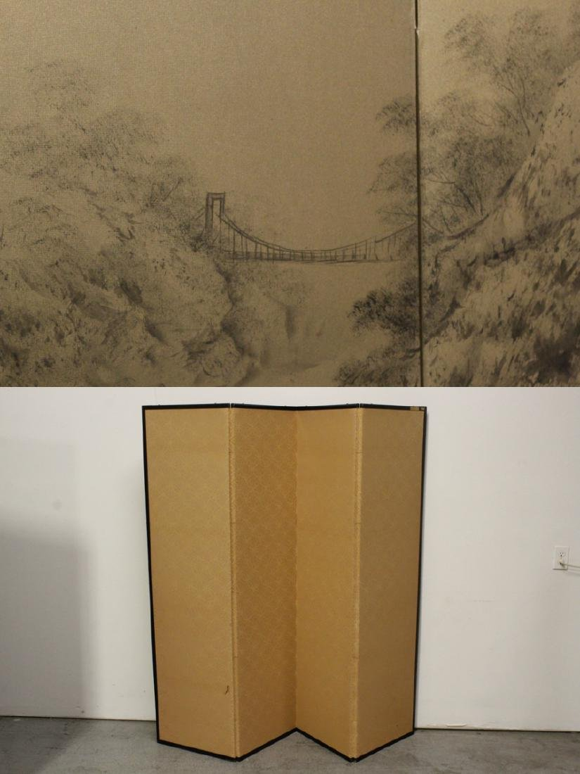 Japanese antique 4-panel screen - 9